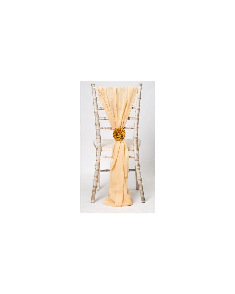 Regal Gold Chiavari Chair Cover Wedding Chiffon Vertical Drops