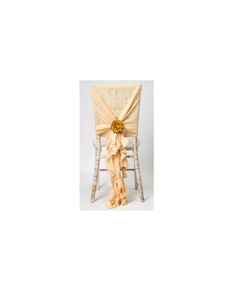 Regal Gold Chiffon Fancy Chiavari Chair Wedding Hood & Ruffle Tail Set