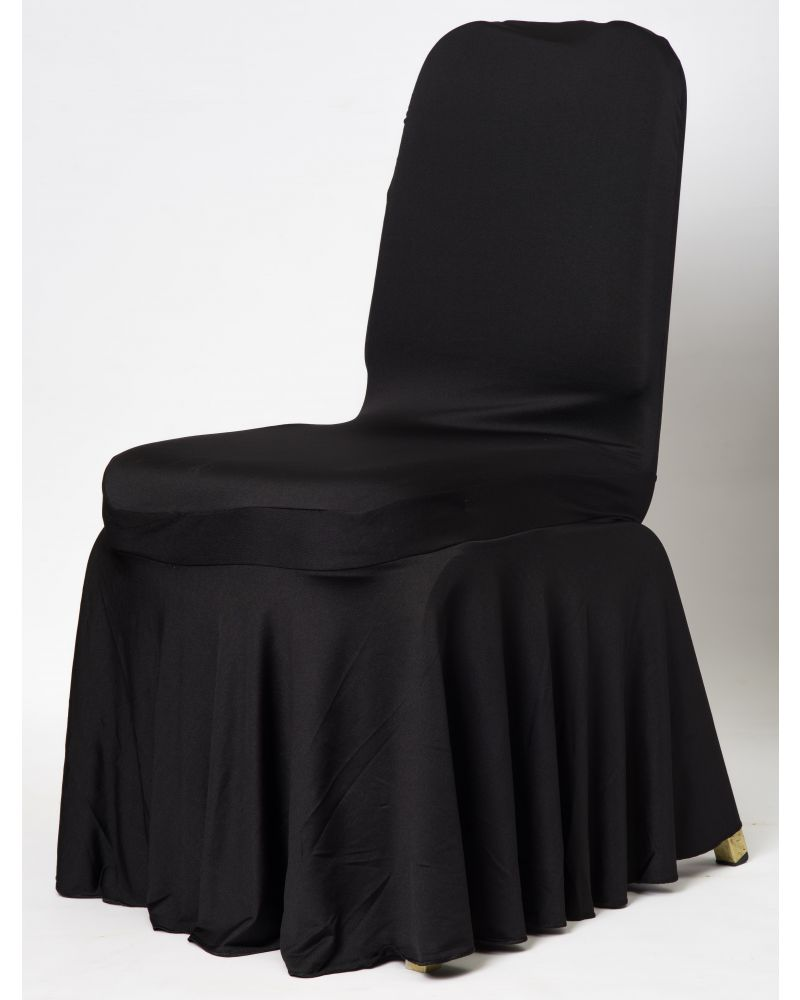 Black Spandex Lycra With Skirt Wedding Banqueting Chair Covers