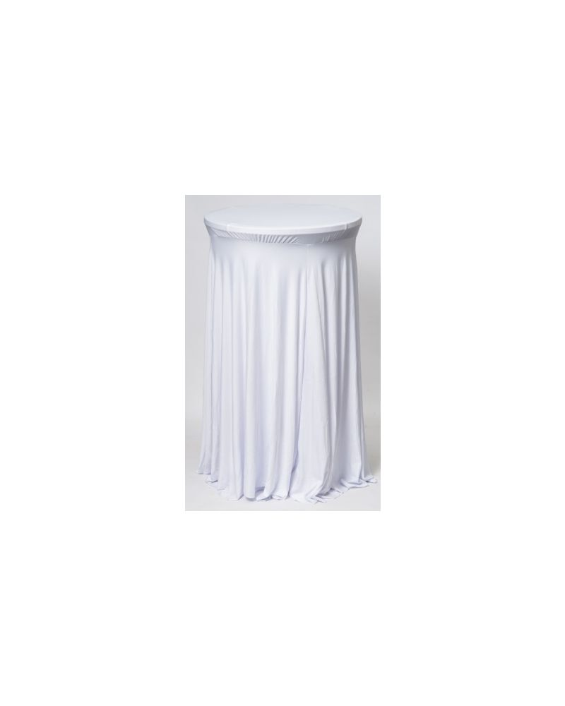 White Spandex Lycra Round Poseur Loose Fit Table Tablecloth Cover 60cm x 105cm