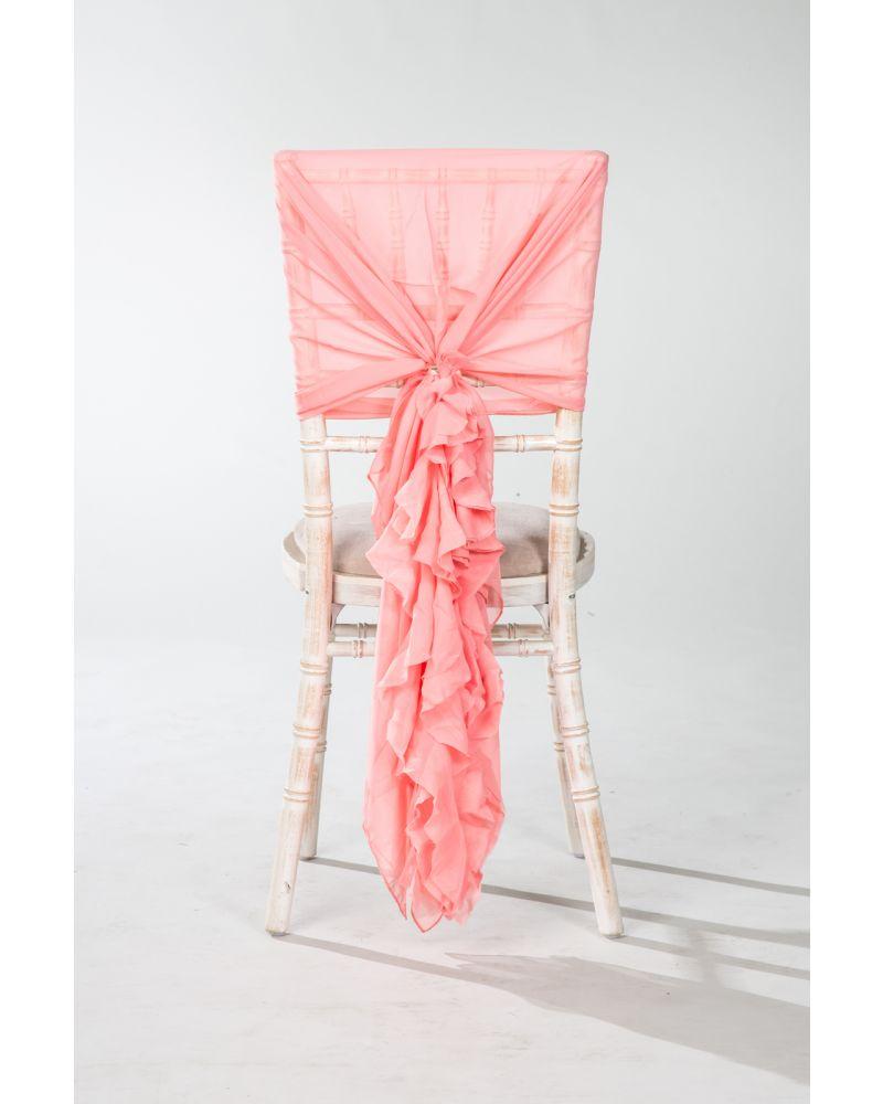Peach Chiffon Fancy Chiavari Chair Wedding Hood & Ruffle Tail Set