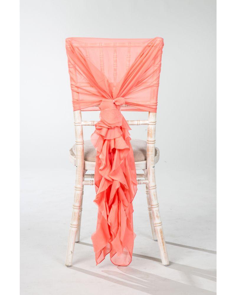 Coral Chiffon Fancy Chiavari Chair Wedding Hood & Ruffle Tail Set
