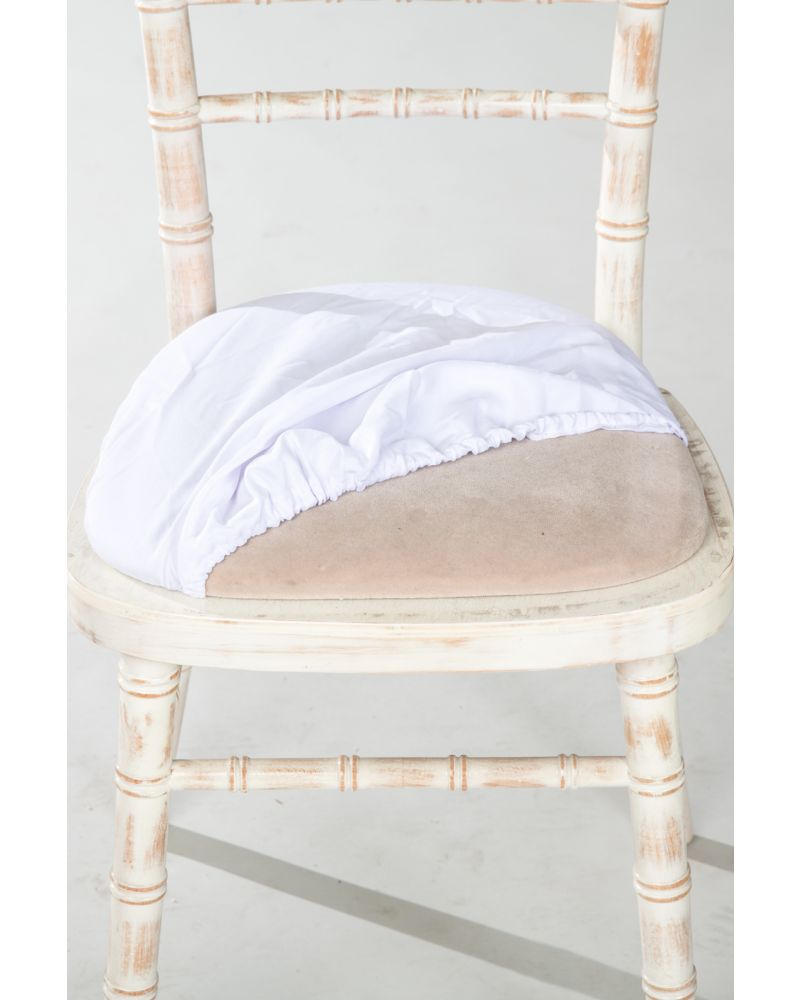 Ivory Chiavari Chair Polyester Seat Pad Covers (Shower Caps)  To Buy