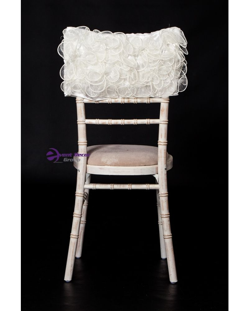 Ivory Fancy Ruffle Back Chiavari Chair Hood Wedding 1/4 Size