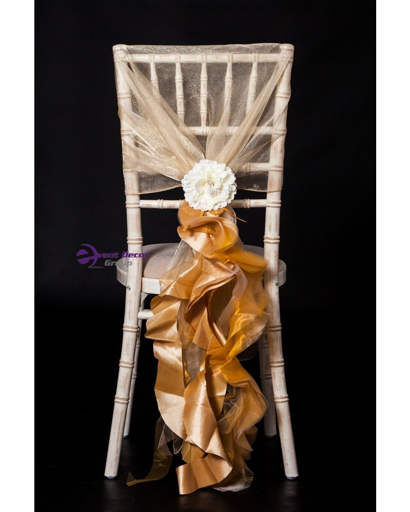 Gold Organza/Taffeta Fancy Ruffle Chair Cover Wedding Sash Accessory