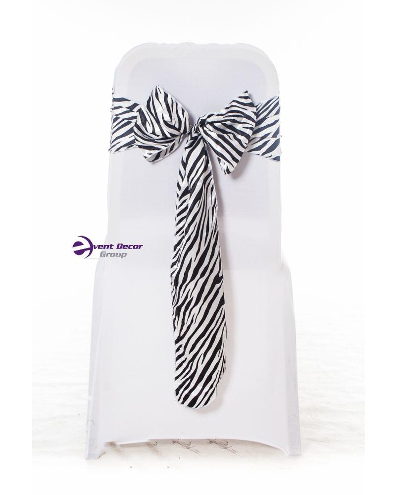 Zebra Animal Print Black & White Satin Chair Cover Sashes Bow