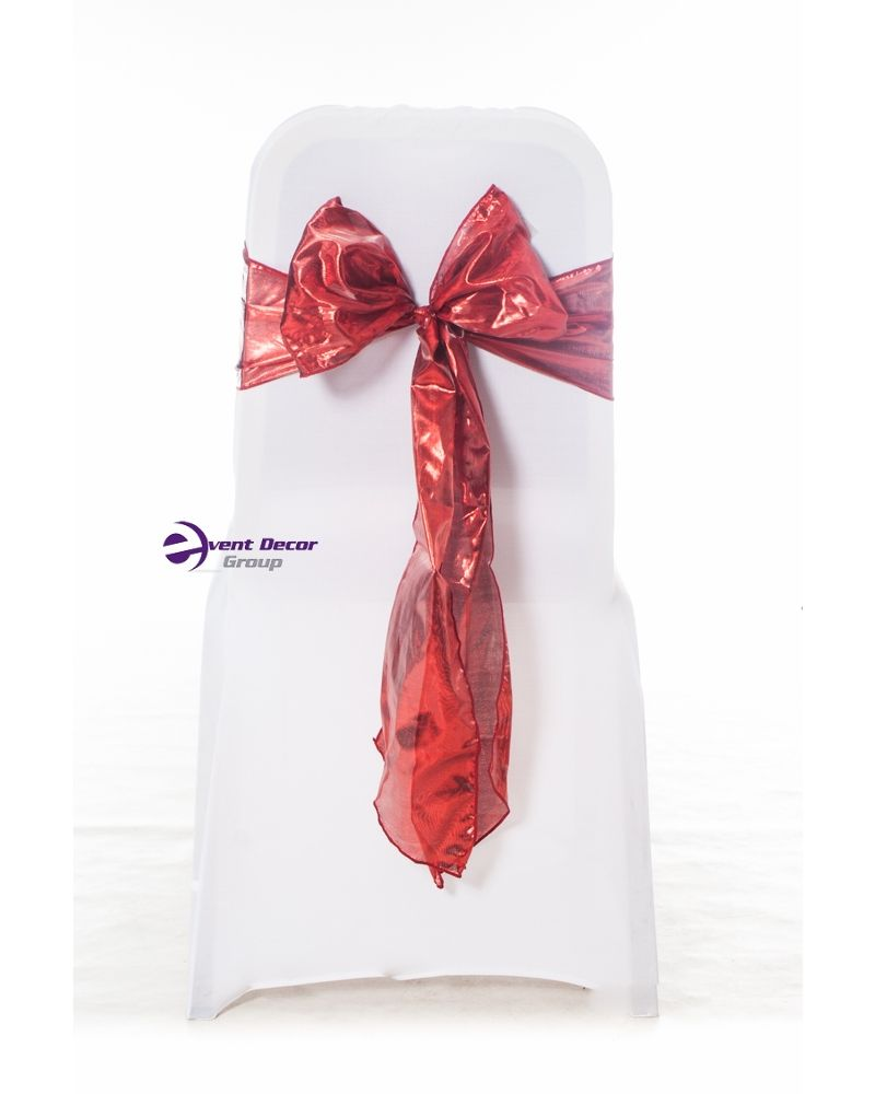 "Red Lame Liquid Wedding Chair Cover Sashes 8"" x 108"""