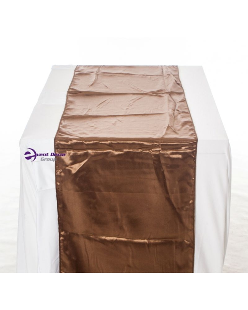"Brown Satin Wedding Table Runners 14""x108"""