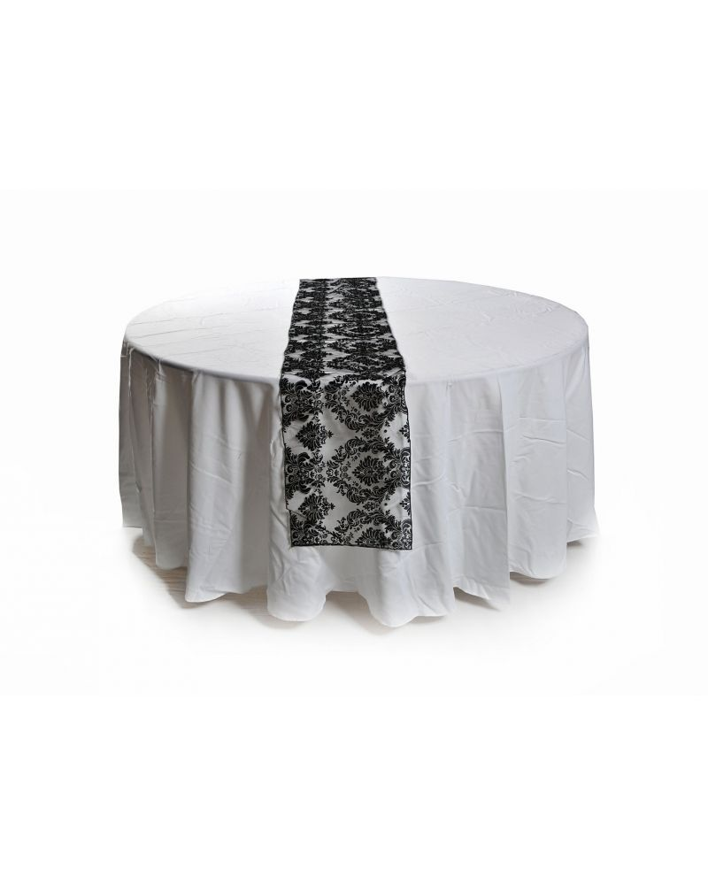 "Black Damask Flock Wedding Table Runners 14""x108"""