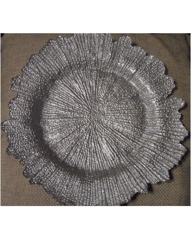 12 x Silver Glass Floral Charger Plate to buy
