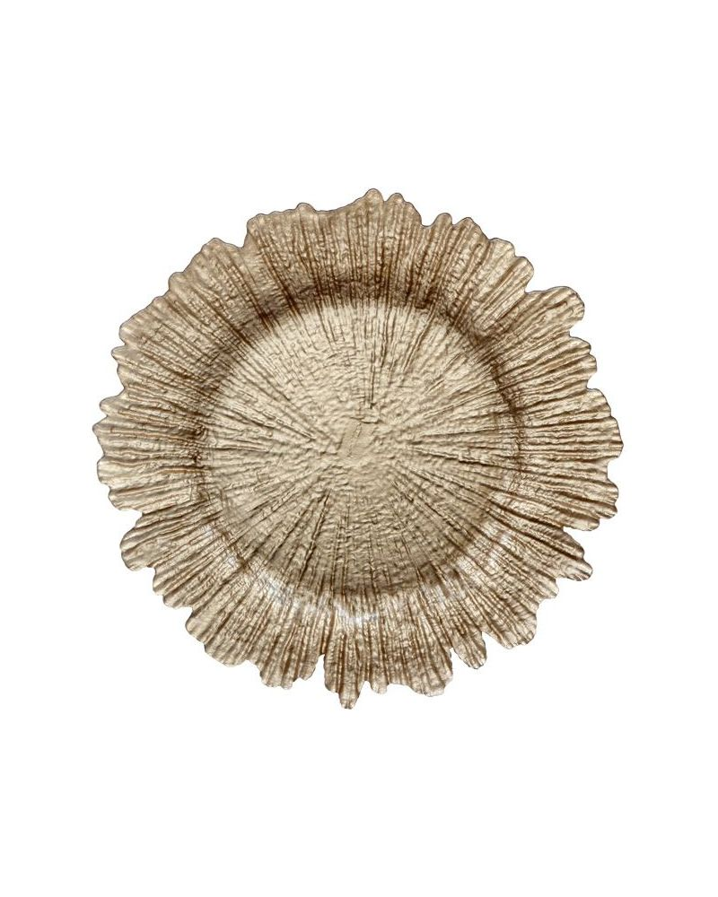 Champagne Gold Glass Floral Reef Charger Plate to buy