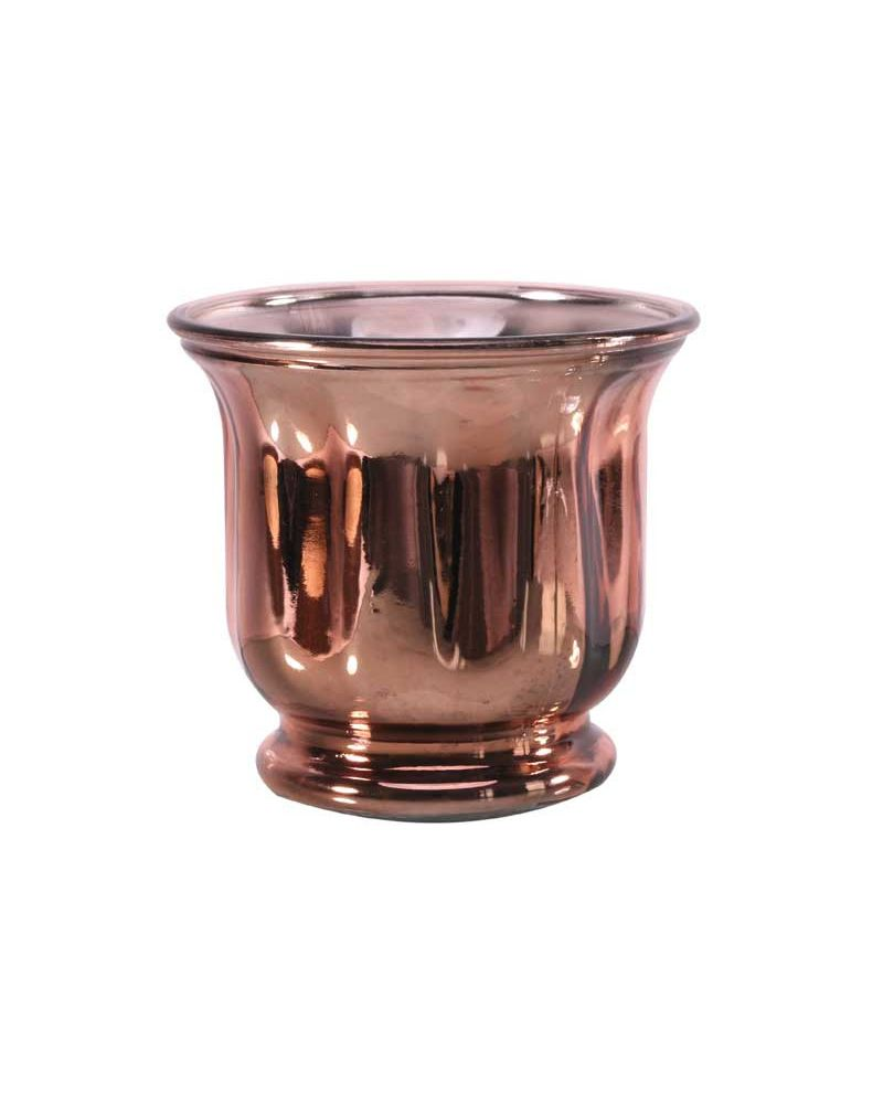 Glass Rose Gold Hurricane Vase 14.5cmx13cm