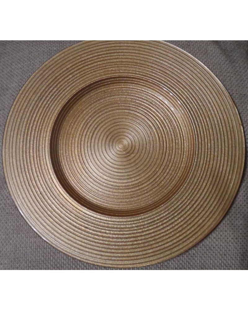 8 x Gold Glass Charger Plate With Circle Design to buy