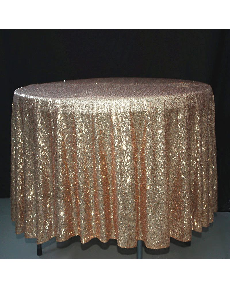 132 Inch Round Gold Sequin Tablecloth