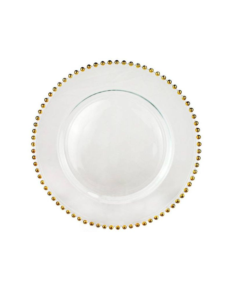 Gold Glass Beaded Charger Plate to buy 31cm