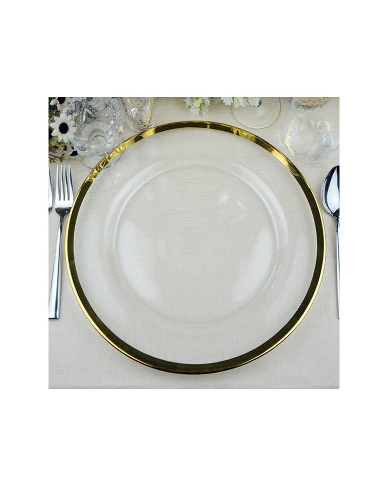 Glass Charger Plate With Gold Rim  GP0241