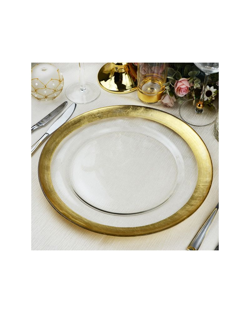 Glass Charger Plate With Gold  Foil Rim GP0198