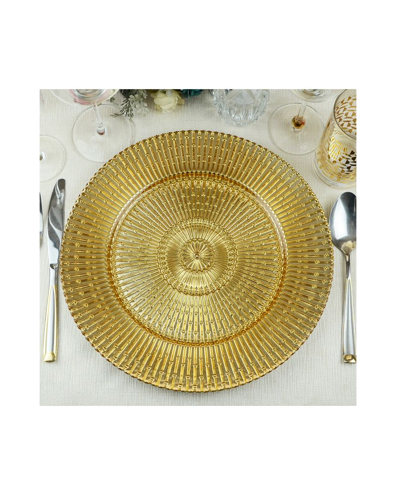 Gold Sun Ray Glass Charger Plate to buy
