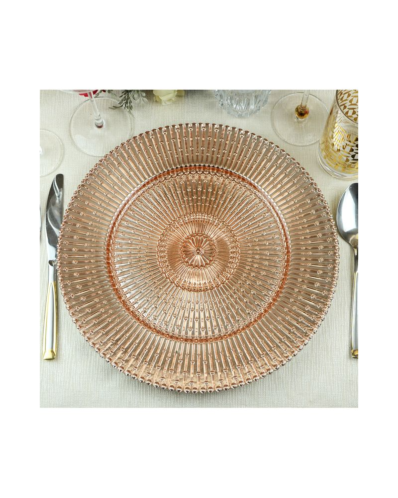 Rose Gold Sun Ray Glass Charger Plate to buy