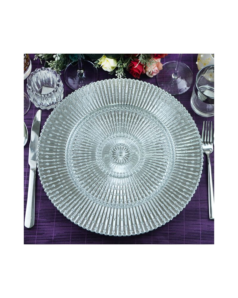 Silver Sun Ray Glass Charger Plate to buy