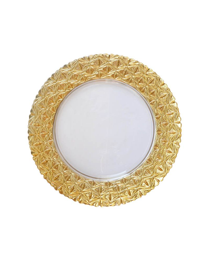 Gold Glass Star Pattern Band Charger Plate to buy