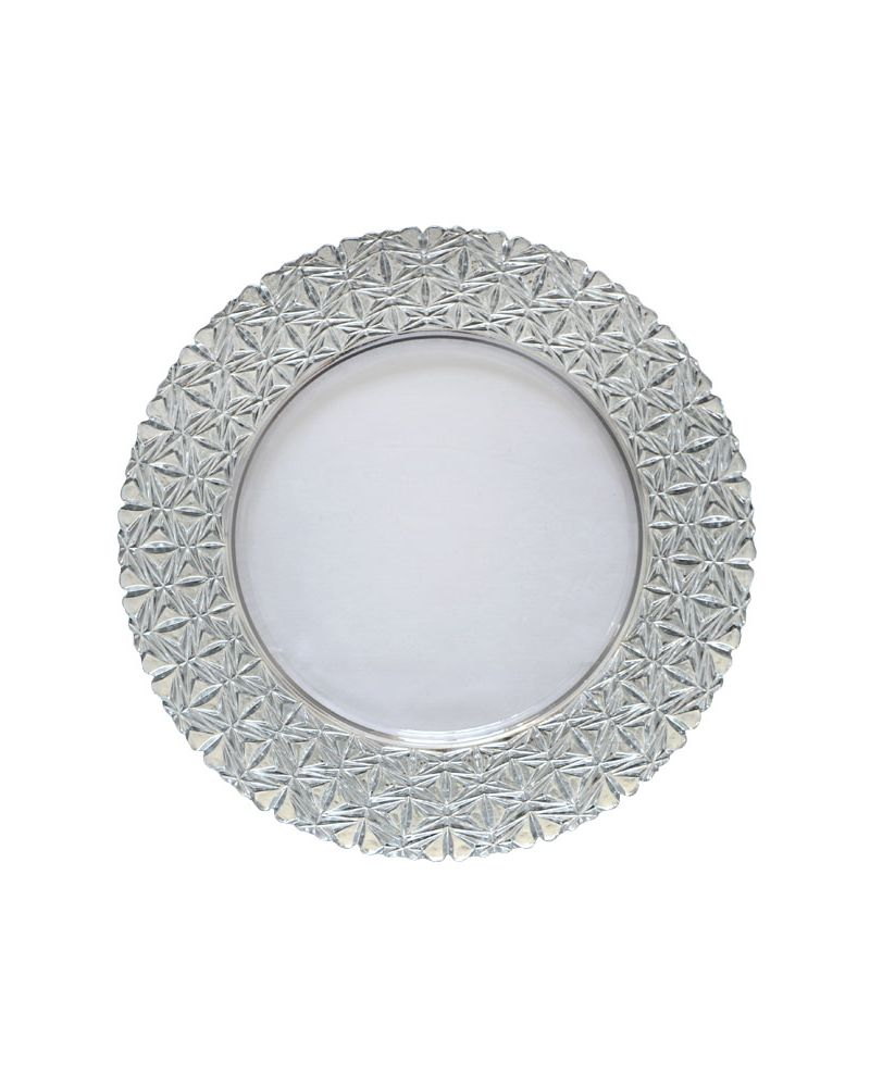 Silver Star Pattern Band Glass Charger Plate to buy