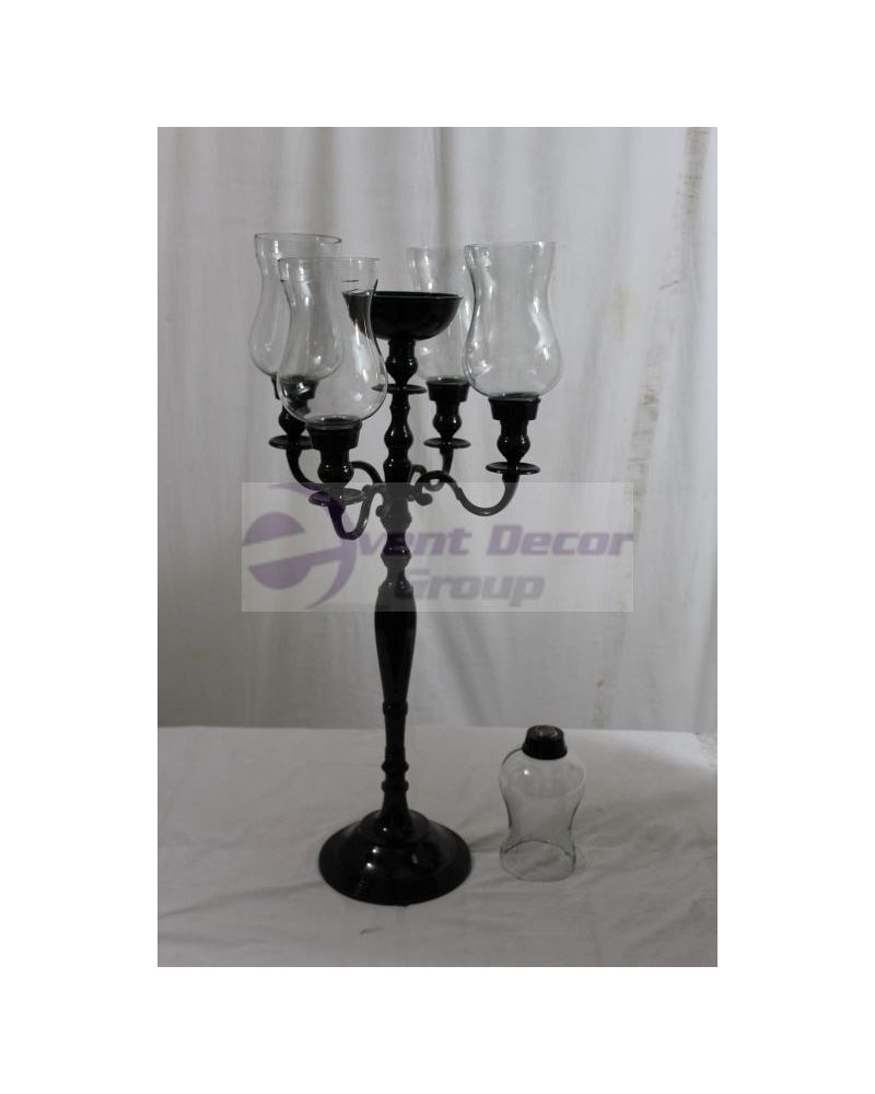 100cm Black 5 Arm Candelabra with Glass Hurricane Holders & flower Bowl