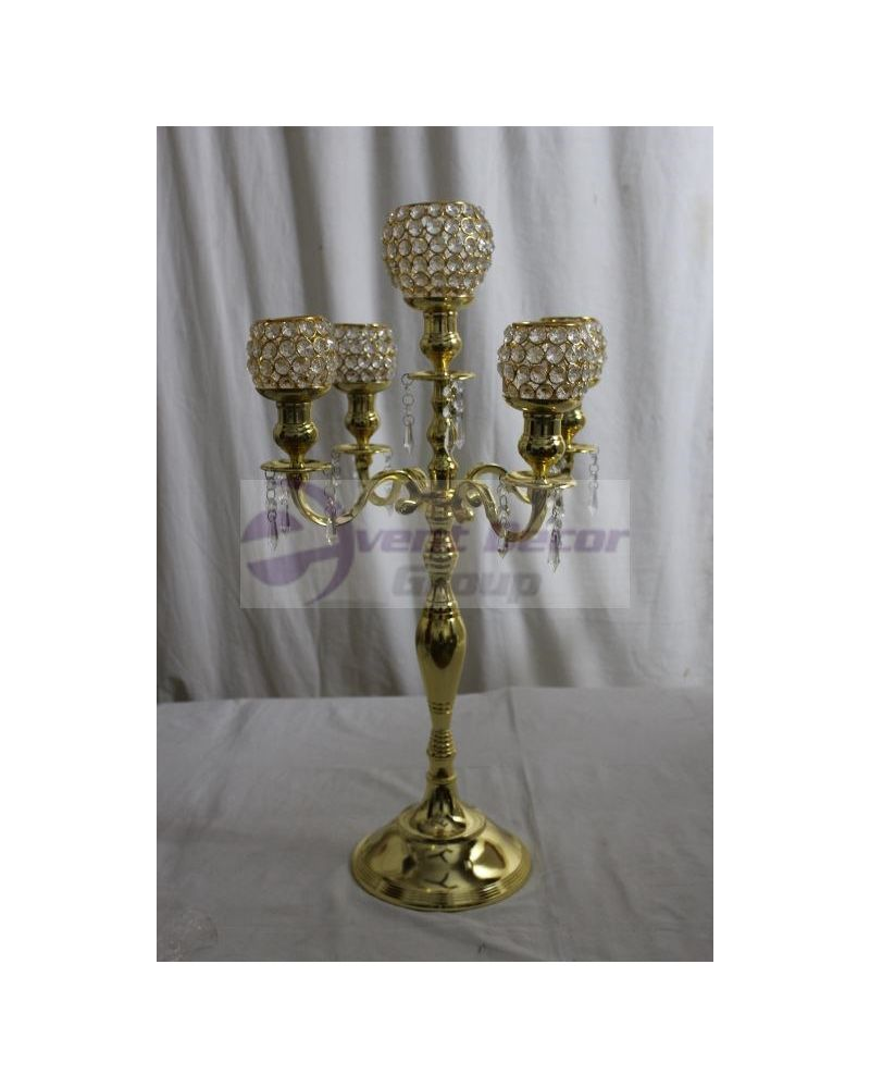 5 Arm Gold Crystal Globe Votive Candelabra 75cm Wedding Party Centrepiece