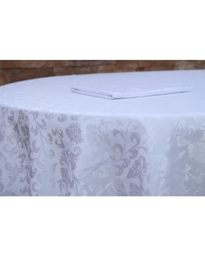 "70""x144"" White Damask Rectangular trestle  Tablecloth"