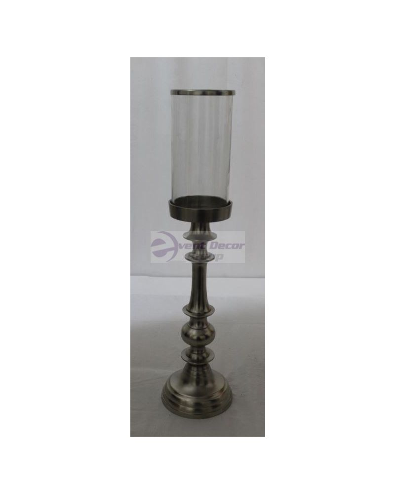 60cm Silver Metal Single Candle Stick Holder With Glass Topped With Chrome Finish