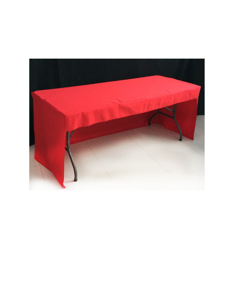 6ft Red Rectangular Fitted 3 sided Polyester Trestle Table Banqueting Tablecloth
