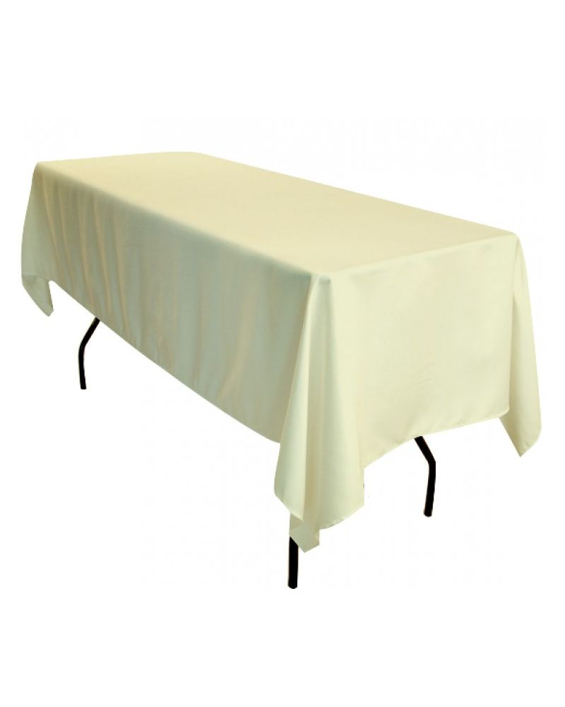 70 Inch x108 Inch Ivory Rectangular Trestle Table Banqueting Tablecloth