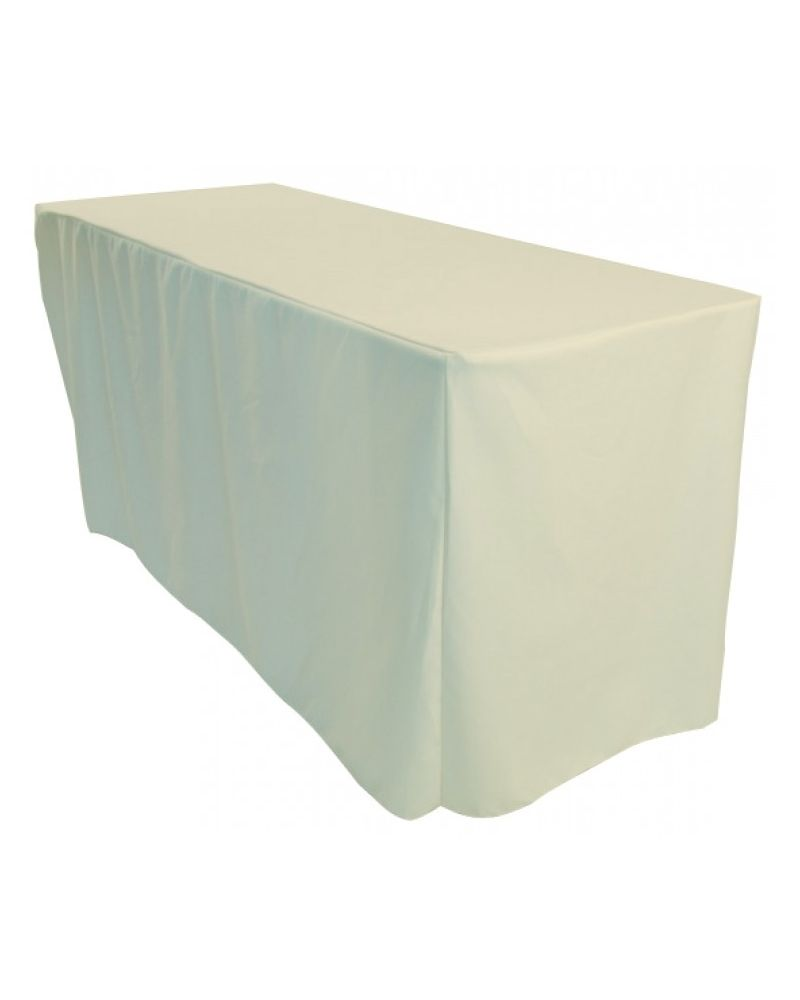 4ft White Rectangular Fitted Polyester Trestle Table Banqueting Tablecloth