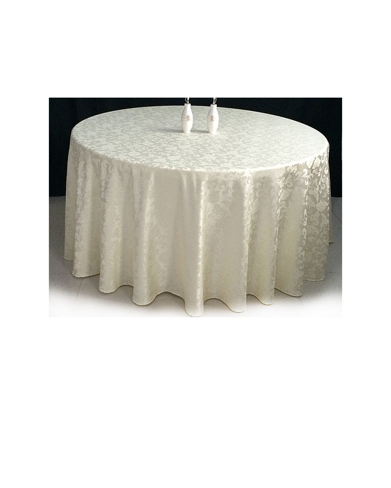 120 Inch White Damask Round Banqueting Wedding Tablecloth