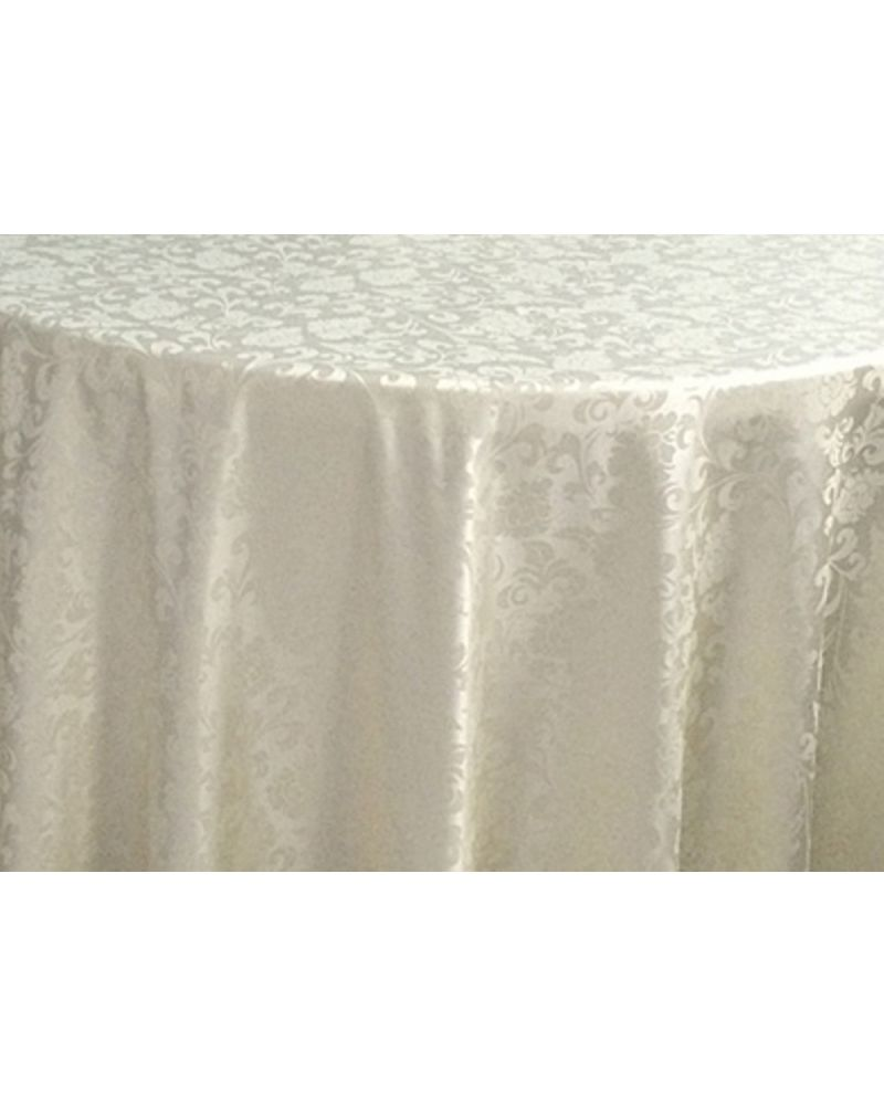 "90""x132"" Ivory Damask Rectangular trestle Table Banqueting Tablecloth"