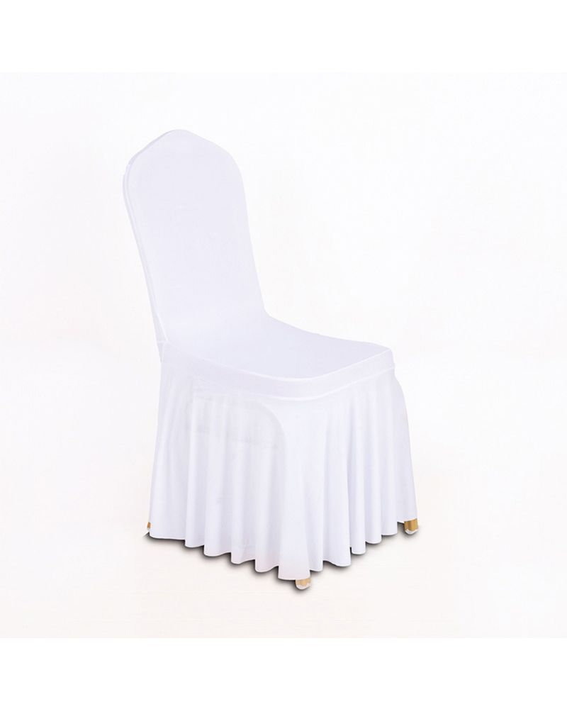 White Spandex Lycra With Skirt Wedding Banqueting Chair Covers