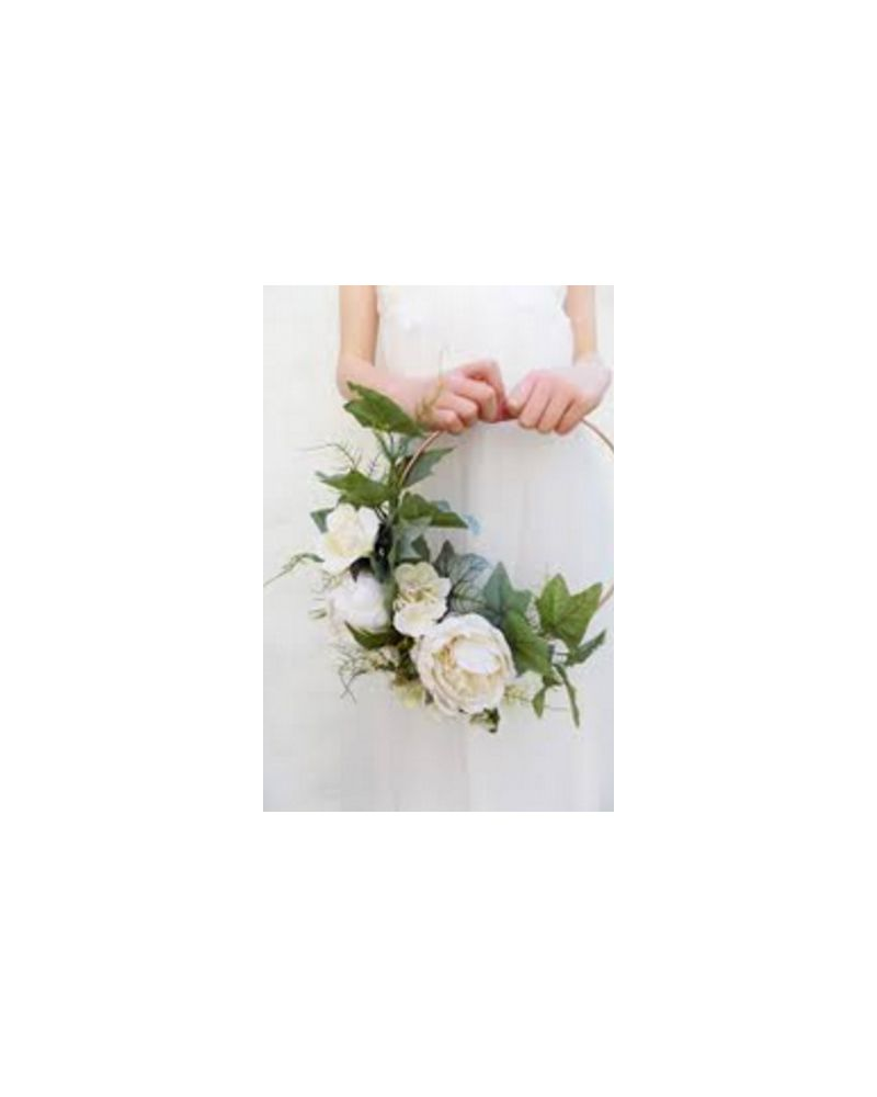 30cm White Floral Ring Hand Held Hoop for Bridesmaids