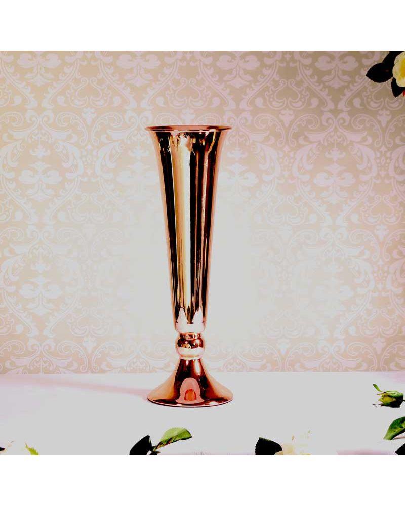 Rose Gold Metal Conic Vase Urn Wedding Centrepiece 40cm