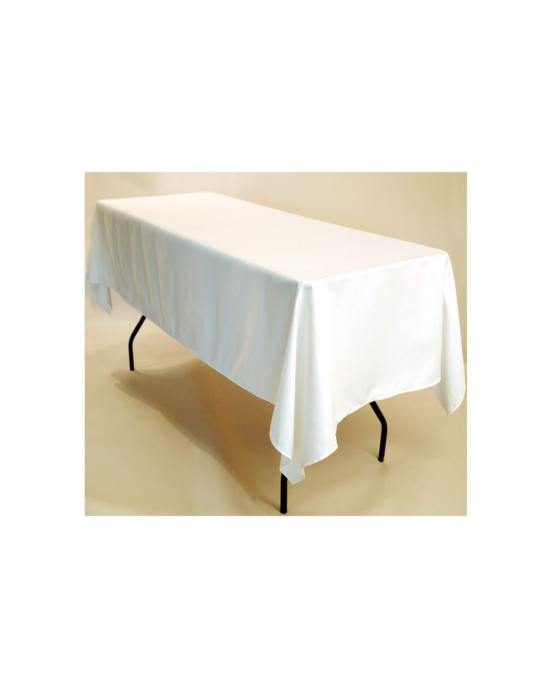 "90""x132"" White Rectangular trestle Table Banqueting Tablecloth"