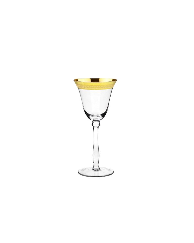 Gold Fancy Decal Rimmed Red Wine Glass