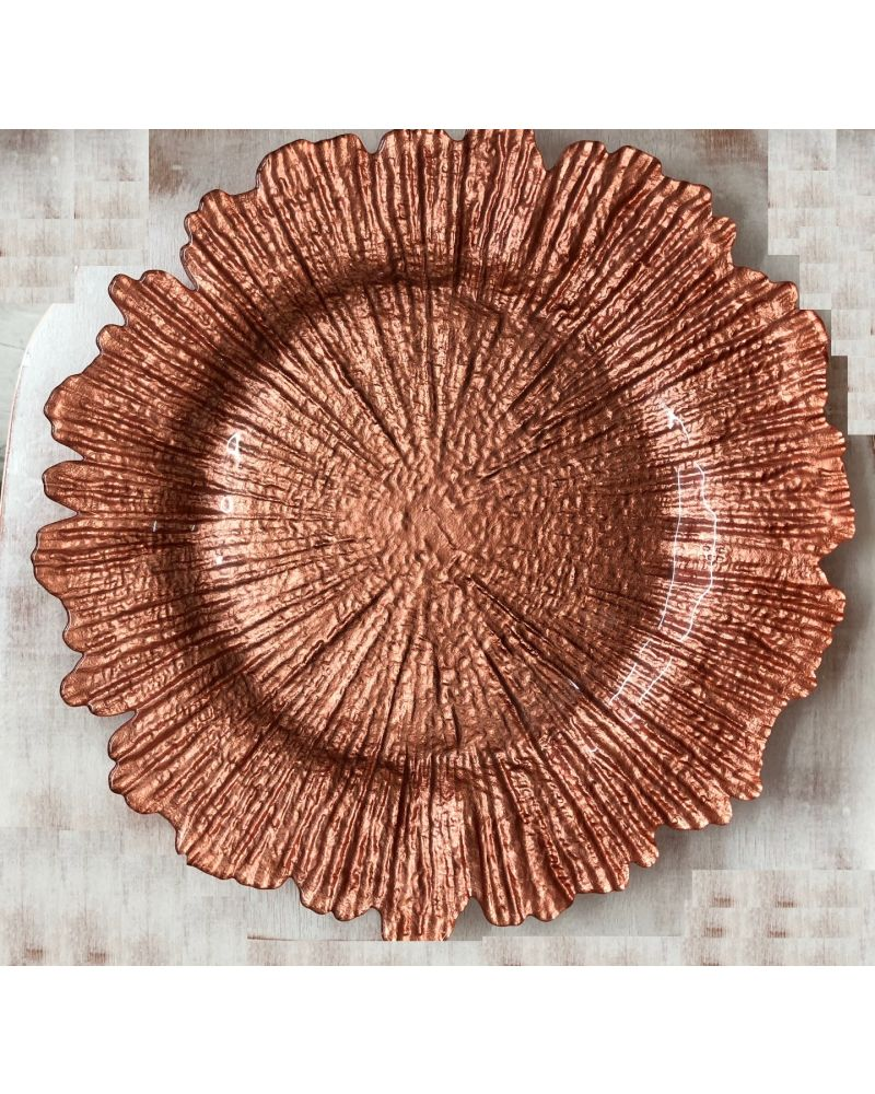 Rose Gold Floral Reef Charger Plate to buy