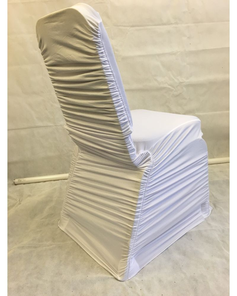 White Ruched Spandex Lycra Wedding Banqueting Chair Covers