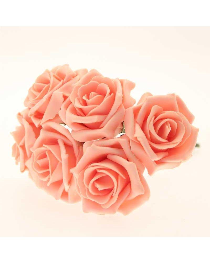 Peach 5.5cm Foam Rose Flower