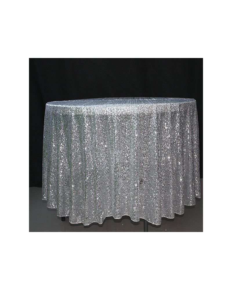 90 Inch Round Silver Sequin Tablecloth / Overlay