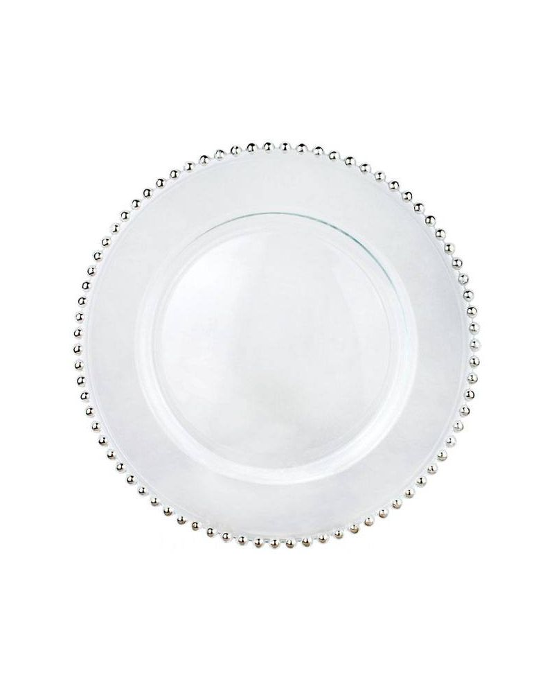 Silver Glass Beaded Charger Plate to buy 31cm