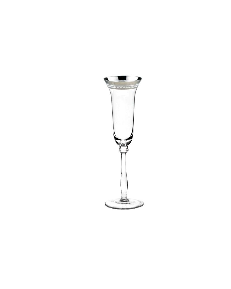 Silver Fancy Decal Rimmed Champagne Glass