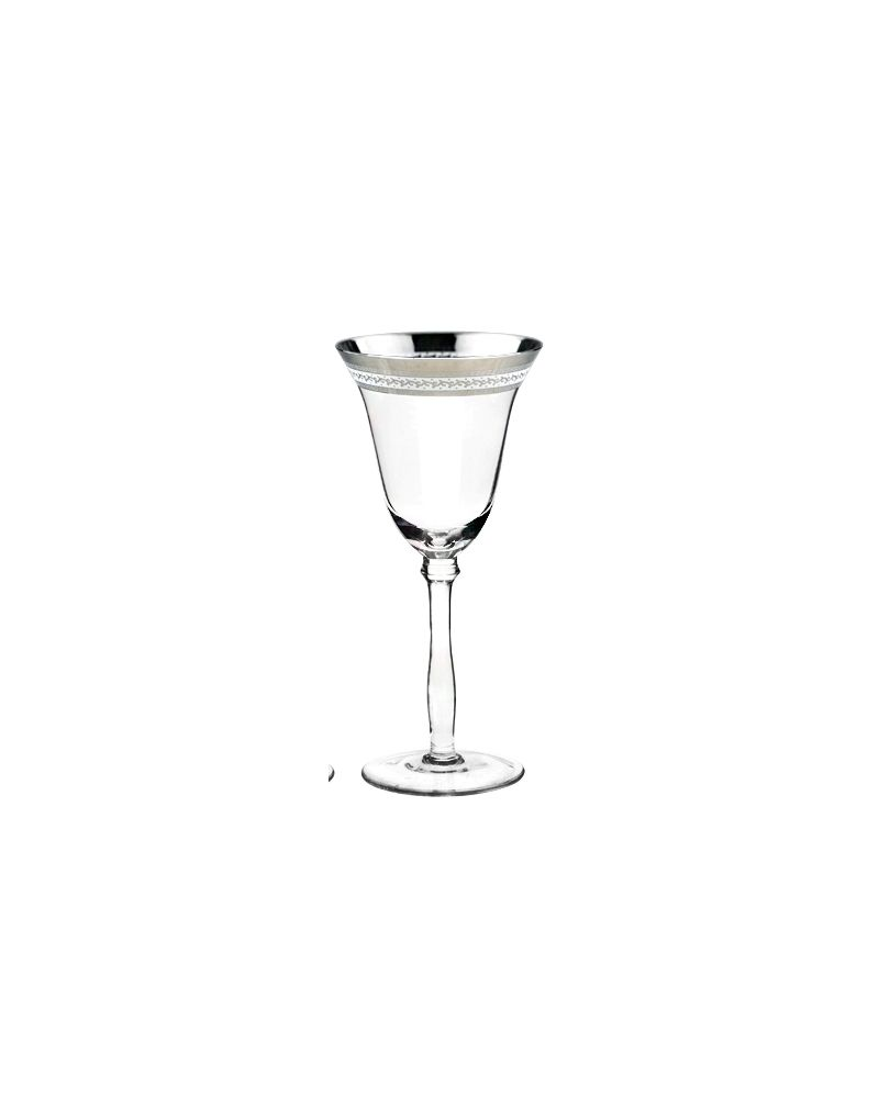 Silver Fancy Decal Rimmed Red Wine Glass