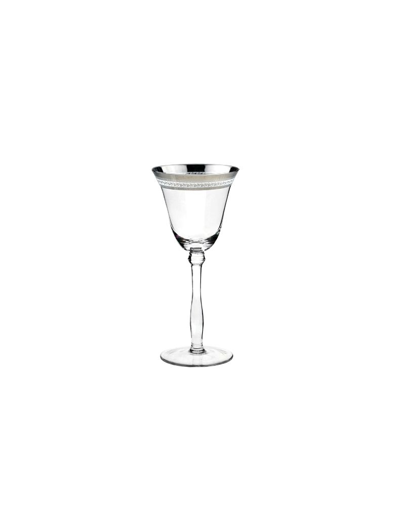 Silver Fancy Rimmed Decal White Wine Glass