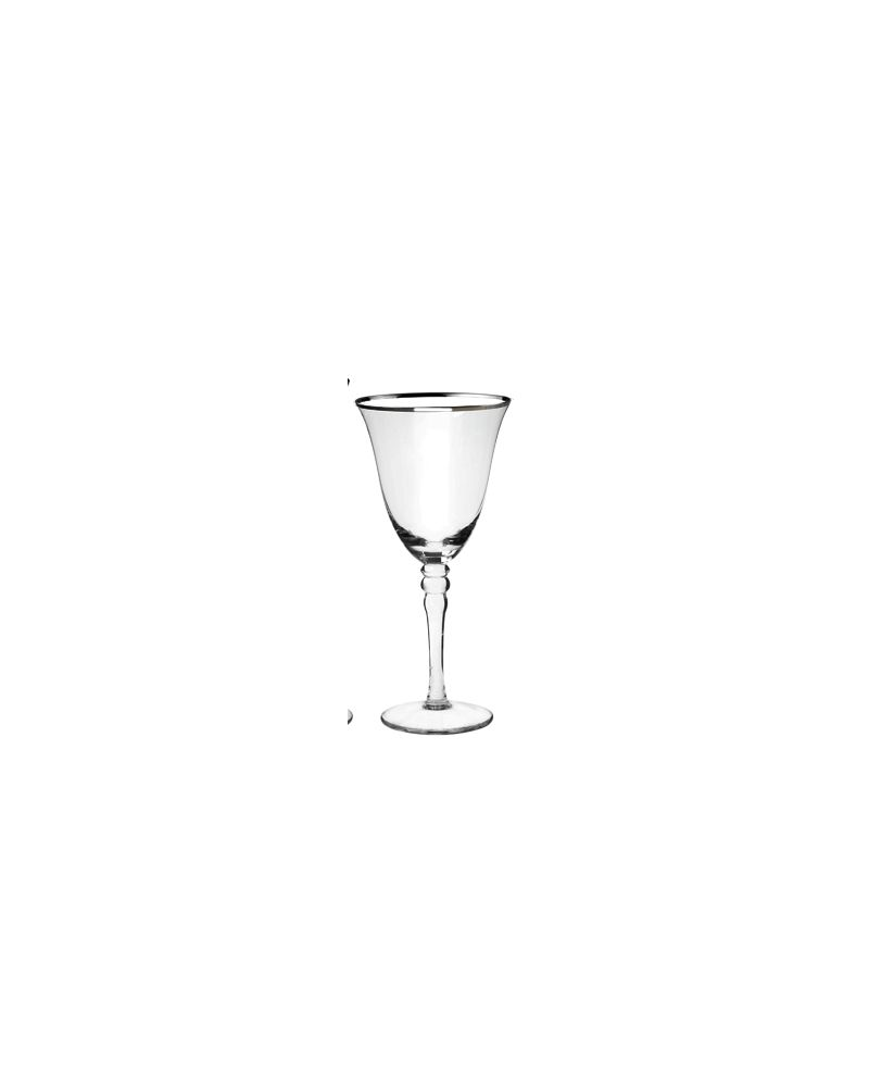 Silver Rimmed Red Wine Glass