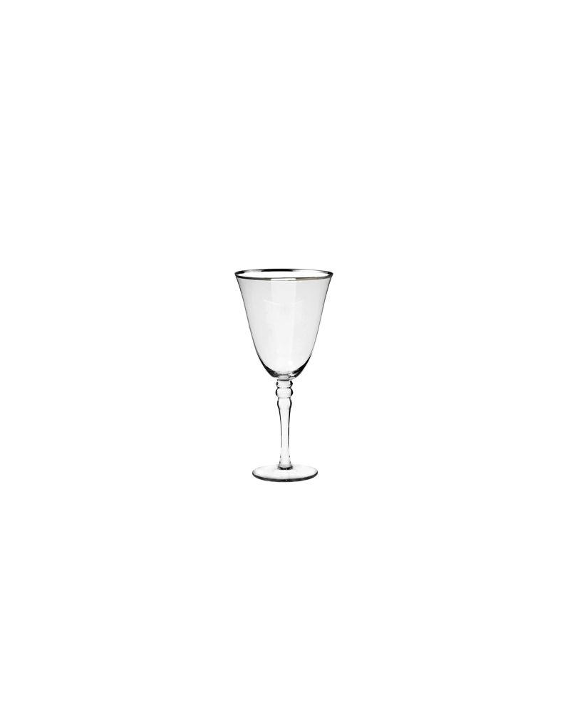 Silver Rimmed White Wine Glass